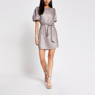 River Island Light purple sequin tie belted mini dress