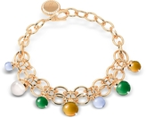 Rebecca Hollywood Stone Yellow Gold Over Bronze Chains Bracelet w/Hydrothermal Stones
