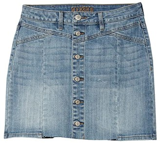 Rock and Roll Cowgirl Mid-Rise Denim Button Front Skirt in Light Wash 69-5303 (Light Wash) Women's Skirt