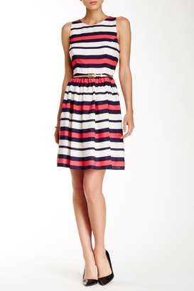 Brinker & Eliza Sleeveless Striped Fit & Flare Dress