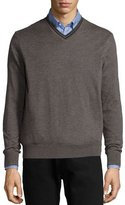 Neiman Marcus Superfine Cashmere Tipped Sweater, Charcoal