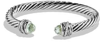 David Yurman Crossover Bracelet with Diamonds and Prasiolite in Silver