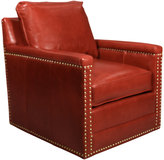 Horchow Avis St. Clair Red Leather Swivel Chair