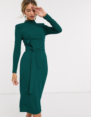 ASOS DESIGN long sleeve midi dress with obi belt in forest green