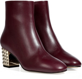 Valentino Leather Ankle Boots with Rockstud Heel in Rubin