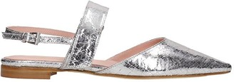 ANNA F. Loafers In Silver Leather