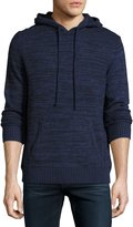Neiman Marcus Cashmere Hooded Sweater, Navy Marbled Combo