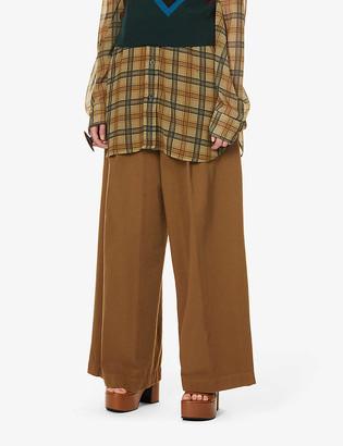 Dries Van Noten Wide-leg mid-rise cotton-twill trousers