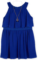 BCX Crochet Popover Dress and Necklace Set, Big Girls