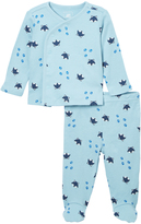 Blue & Navy Fox Kimono & Pants Set - Infant