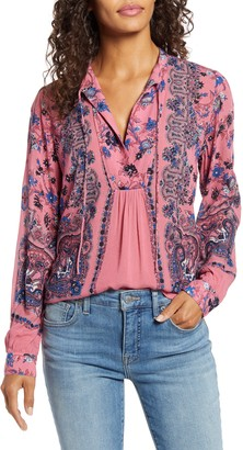 Lucky Brand Paisley & Floral Peasant Top