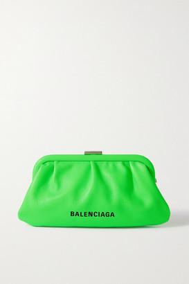 Balenciaga Cloud Xs Printed Textured-leather Clutch - Green