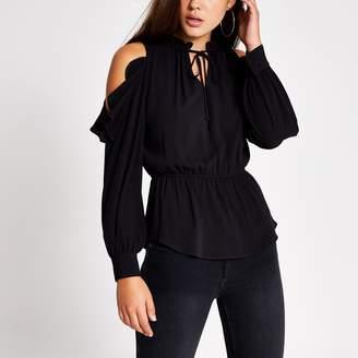 River Island Womens Black tie neck cold shoulder blouse