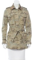 Fay Vegan Leather-Accented Camouflage Jacket w/ Tags