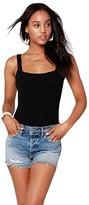 Bobi Los Angeles bobi Los Angeles Square Neck Ribbed Bodysuit (Black) Women's Jumpsuit & Rompers One Piece