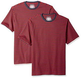 Amazon Essentials Loose-Fit Short-Sleeve Stripe Crewneck T-Shirts (Pack of 2) S