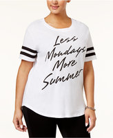Hybrid Trendy Plus Size Cotton Less Mondays Graphic T-Shirt