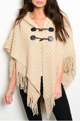 BEIGE Ms Accessories Fringes Poncho