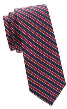 Black & Brown Black Brown Naples Skinny Striped Silk-Blend Tie
