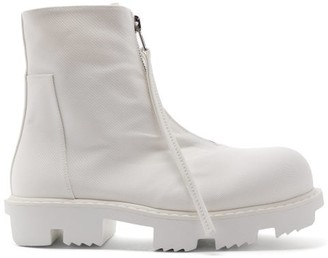 Rick Owens Megatooth Zipped Canvas High-top Boots - White