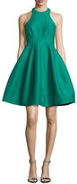 Halston Sleeveless Structured Faille Tulip Dress, Emerald