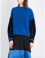 Toga Contrast-sleeve oversized wool jumper