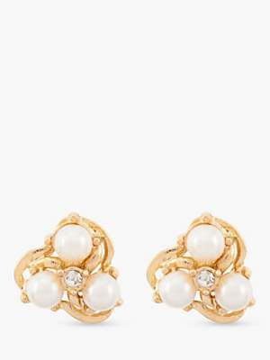 Susan Caplan Vintage 22ct Gold Plated Faux Pearl and Swarovski Crystal Clip-On Flower Stud Earrings, Gold