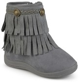 Journee Collection Girls' Anza Round Toe Fringed Fashion Boots - Assorted Colors