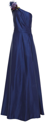 Marchesa Notte Strapless Ruffled Organza-trimmed Printed Tulle Gown