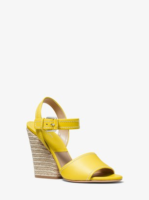 Michael Kors Priya Leather and Jute Sandal