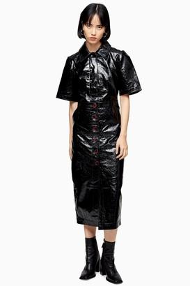 Topshop Womens Black Vinyl Leather Midi Shirt Dress - Black