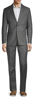 Calvin Klein Two-Piece Extra Slim Fit Plaid Wool Suit