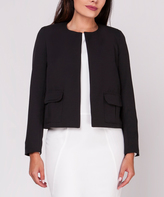 black collarless jacket - ShopStyle