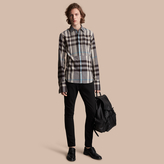 Burberry Double-cuff Pintuck Bib Check Cotton Shirt