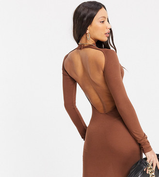 Asos Tall ASOS DESIGN Tall long-sleeved sexy back midi dress in chocolate
