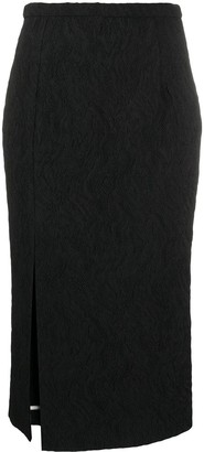 Rochas Split-Hem Matelasse Pencil Skirt