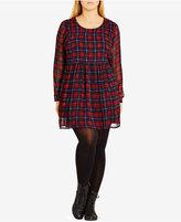 City Chic Plus Size Lattice-Back Plaid Fit & Flare Dress