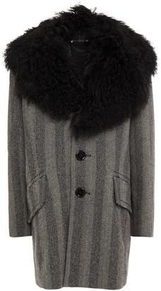 Marc Jacobs Shearling-trimmed Herringbone Wool Coat
