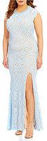 Jodi Kristopher Plus Pearl Beaded Neckline Long Lace Dress