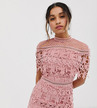 Chi Chi London high neck lace pencil midi dress in rose pink
