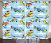 Kids Decor Curtains by Ambesonne, Cartoon Planes and Helicopters in the Air between Clouds Nursery Toy Artwork, Living Room Bedroom Window Drapes 2 Panel Set, 108 W X 63 L Inches, Blue Yellow