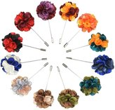 Jelinda Men's Mixed Color Flower Lapel Pin Boutonniere Brooch Pin Clips(12-Pack)