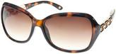 Nine West Women's Sunglasses TORT - Brown Tortoise Chain-Accent Oversize Sunglasses