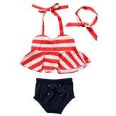 Hirigin Baby Girls 3 Pcs Bikini Sets Halter Bra Top+Bottom+Headband Swimwear (2-3T, )