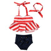 Hirigin Baby Girls 3 Pcs Bikini Sets Halter Bra Top+Bottom+Headband Swimwear (3-4T, )
