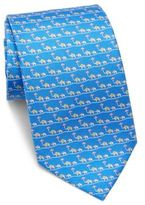 Salvatore Ferragamo Elephants with Umbrella Silk Tie