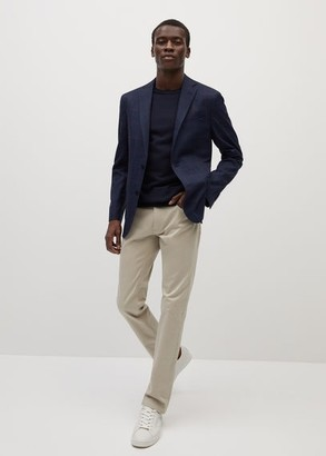 MANGO MAN - Slim fit checked suit blazer blue - 36 - Men