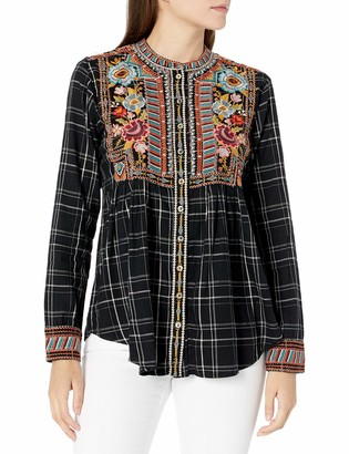 3J Workshop by Johnny was Women's Plaid Button Down Smock Shirt with Embroidery S