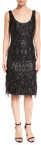 David Meister Sleeveless Faux Feather-Trim Patterned Cocktail Dress, Black