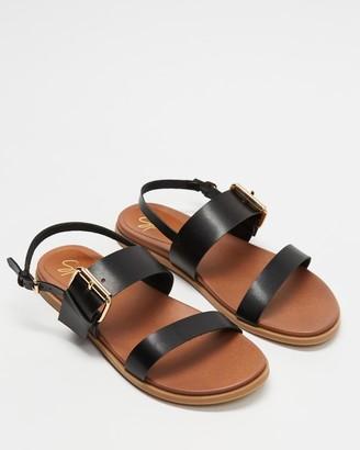 Spurr Women's Black Flat Sandals - April Comfort Sandals - Size 6 at The Iconic